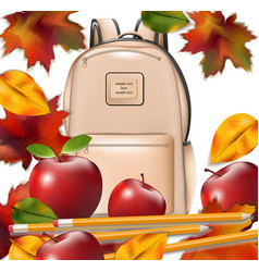 School bag and autumn leaves back to school vector