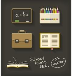 School flat icons book pencil vector