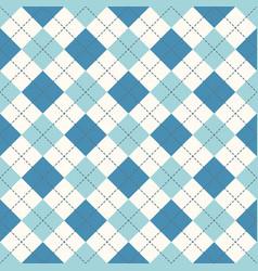 Seamless argyle plaid blue pattern diamond check vector