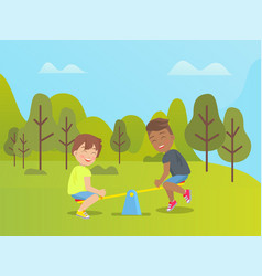 seesaw joy amusement park kids playing outdoors vector image