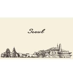 Seoul skyline south korea draw sketch vector