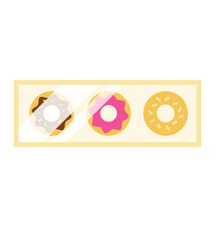 set icing donuts in a box icon flat isolated vector image