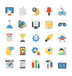 set of creative process flat icons vector image