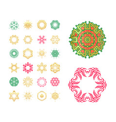 set of snowflakes hand drawn stars vector image