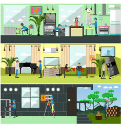 set of workers profession posters banners vector image