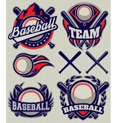 set sports template with ball and bats vector image