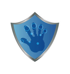 shield security fingerprints hand vector image