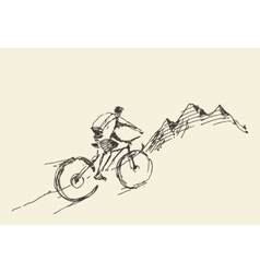 Sketch rider bicycle standing top hill vector