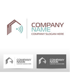 Smart house logo design and template vector