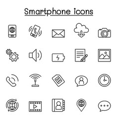 Smartphone icon set in thin line style vector