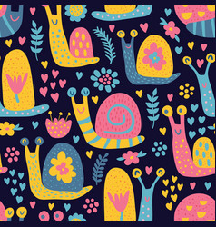 snails pattern dark vector image