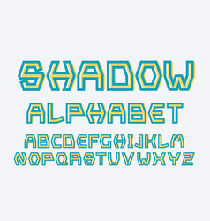 strict shadow font alphabet vector image