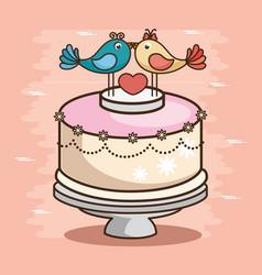 stylish wedding cake vector image