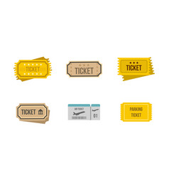 ticket icon set flat style vector image