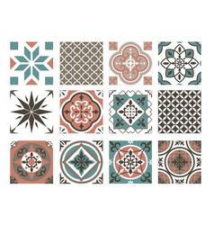 tile colorful pattern set abstract oriental blue vector image