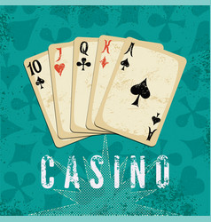vintage grunge casino poster with playing cards vector image
