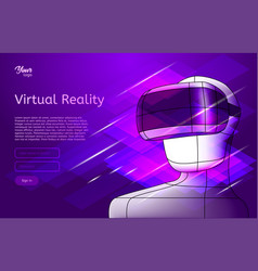 virtual reality poster man in vr headset vector image