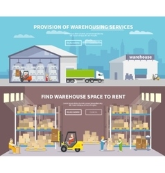 Warehouse Flat Banner Set vector