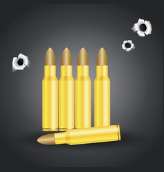 Weapon bullets and bullet holes isolated on gray vector