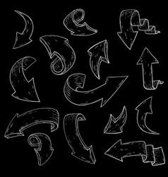 white arrows hand drawn sketch chalk vector image