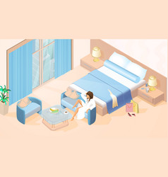 Woman resting in hotel room isometric vector