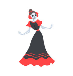 woman skeleton in mexican traditional black and vector image