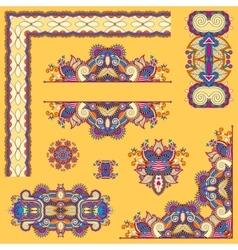 Yellow set paisley floral design elements vector