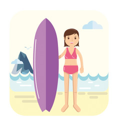 young surfer girl pose next to her surfboard vector image