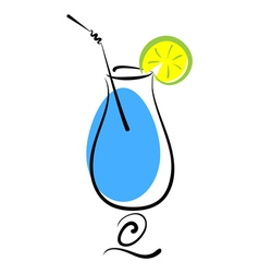 Alcohol blue cocktail in glass vector image
