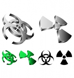 biohazard and radiation signs vector image