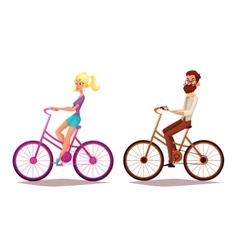 Cartoon couple riding bikes vector
