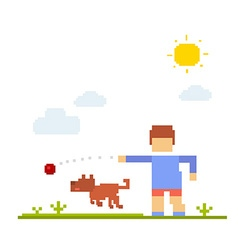colorful of boy with dog Happy friends on w vector image