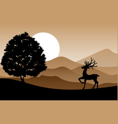 deer standing on the hill vector image vector image