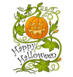 halloween pumpkin and greeting inscription vector image vector image