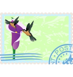 Postage stamps with hummingbirds vector image