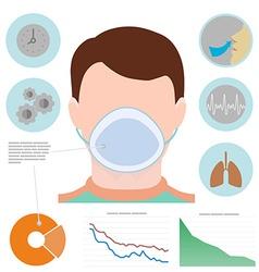 Respiratory infographic man in respiratory mask vector image