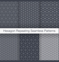 set of minimalist seamless patterns hexagonal vector image vector image