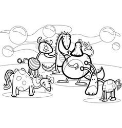 cartoon fantasy group coloring book vector image vector image