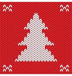 Christmas Knitted background with tree vector image vector image