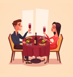 happy couple lovers man and woman characters vector image