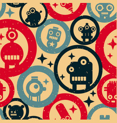 seamless pattern with robots and circles in vector image vector image