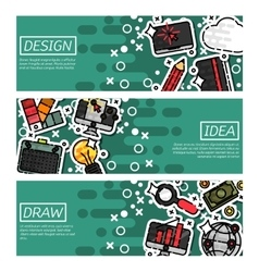 Set of Horizontal Banners about design vector image