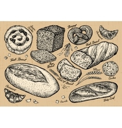 bread bakery hand drawn sketches of food vector image vector image