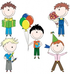 cheerfull kids make happy birt vector image vector image