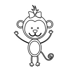 figure teddy monkey bow head vector image