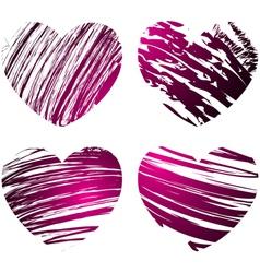 grunge hearts 1 vector image vector image