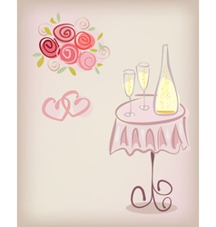 Love gift card with champagne vector image