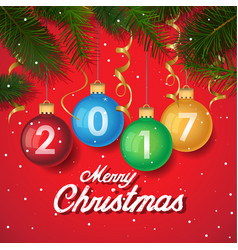merry christmas 2017 decoration poster card new vector image vector image
