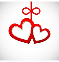 paper banner two hearts on white background vector image
