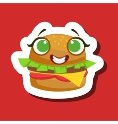 Smiling Burger Sandwich Cute Emoji Sticker On Red vector image vector image